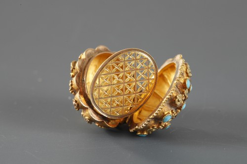 Early 19th Century Gold,Turquoise and rubis Vinaigrette - Restauration - Charles X