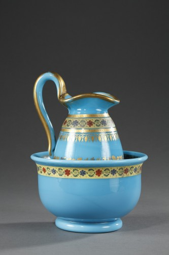 Bowl and Pitcher in blue Opaline with Desvignes Decoration  -