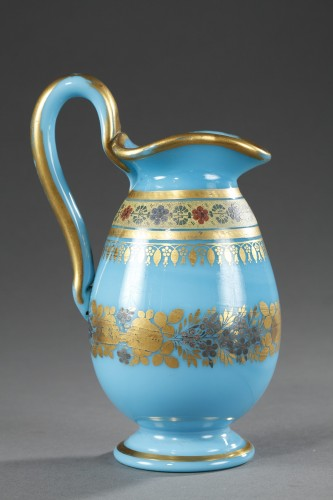 19th century - Bowl and Pitcher in blue Opaline with Desvignes Decoration