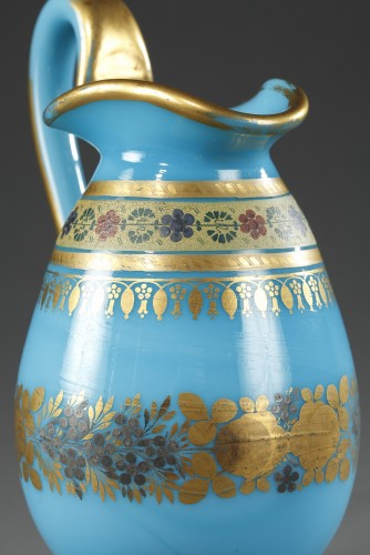 Restauration - Charles X - Bowl and Pitcher in blue Opaline with Desvignes Decoration