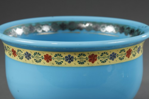 Antiquités - Bowl and Pitcher in blue Opaline with Desvignes Decoration