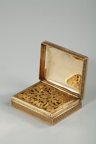 Antiquités - Rectangular, enameled gold vinaigrette