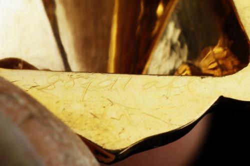 19th century - Multi-lobed, gold vinaigrette with black enamel