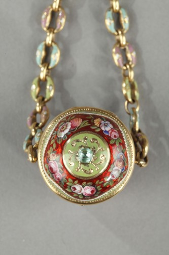Objects of Vertu  - An early 19th century gold and enamel vinaigrette, chain, and ring.