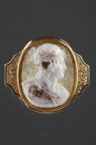 Cameo on agate, gold mounting - Antique Jewellery Style Louis-Philippe