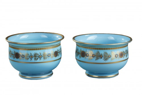 Early 19th Century pair of Blue Opaline Bowls