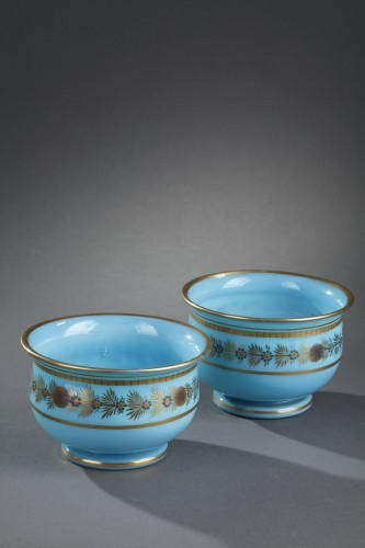 Early 19th Century pair of Blue Opaline Bowls - Glass & Crystal Style Restauration - Charles X