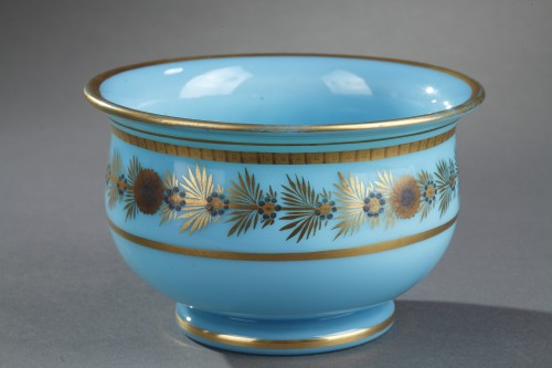 Glass & Crystal  - Early 19th Century pair of Blue Opaline Bowls