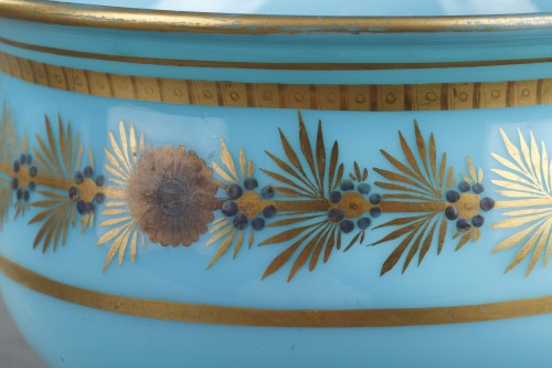 Early 19th Century pair of Blue Opaline Bowls - Restauration - Charles X