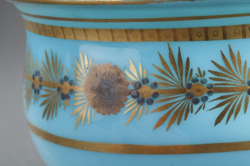 Restauration - Charles X - Early 19th Century pair of Blue Opaline Bowls