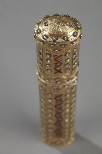 18th century gold wax case with diamonds,and enamel - Objects of Vertu Style Louis XVI