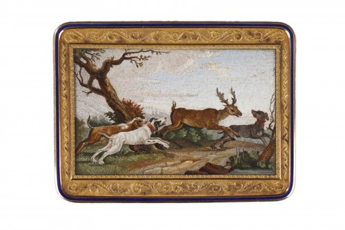 """The stag hunt"".Early 19th century Micromosaic panel. Attributed to Aguatti"