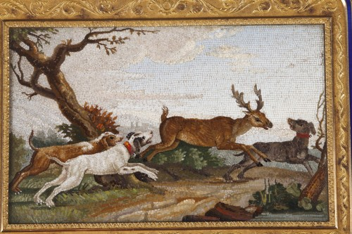 """""""The stag hunt"""".Early 19th century Micromosaic panel. Attributed to Aguatti - Objects of Vertu Style Empire"""