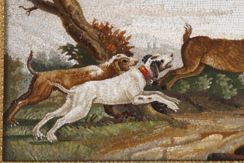 """Objects of Vertu  - """"The stag hunt"""".Early 19th century Micromosaic panel. Attributed to Aguatti"""
