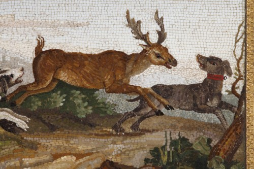 """""""The stag hunt"""".Early 19th century Micromosaic panel. Attributed to Aguatti -"""