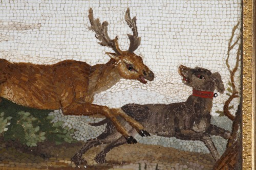 """19th century - """"The stag hunt"""".Early 19th century Micromosaic panel. Attributed to Aguatti"""