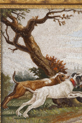 """""""The stag hunt"""".Early 19th century Micromosaic panel. Attributed to Aguatti - Empire"""