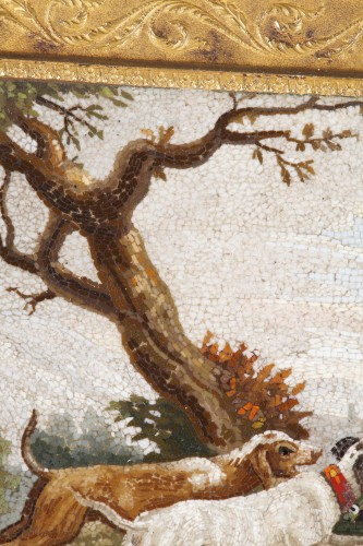 """Empire - """"The stag hunt"""".Early 19th century Micromosaic panel. Attributed to Aguatti"""