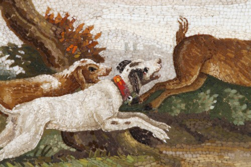 """Antiquités - """"The stag hunt"""".Early 19th century Micromosaic panel. Attributed to Aguatti"""