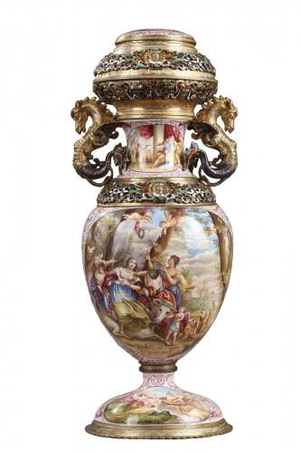 An Austrian enamel vase Vienna circa 1880