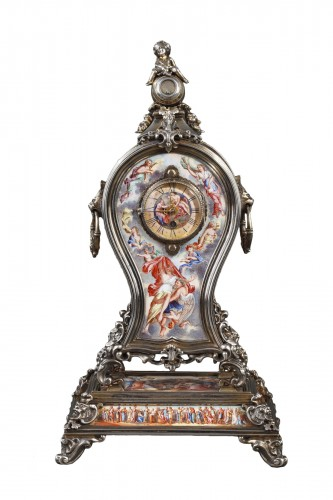 A 19th century VIENNESE SILVER AND ENAMEL TABLE CLOCK.