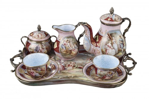 A 19th Century Silver gilt and Enamel miniature coffee service