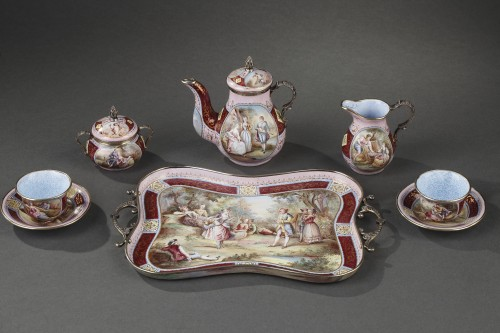 A 19th Century Silver gilt and Enamel miniature coffee service - Objects of Vertu Style Napoléon III