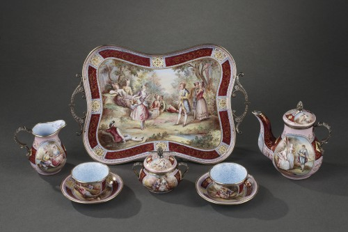 Objects of Vertu  - A 19th Century Silver gilt and Enamel miniature coffee service