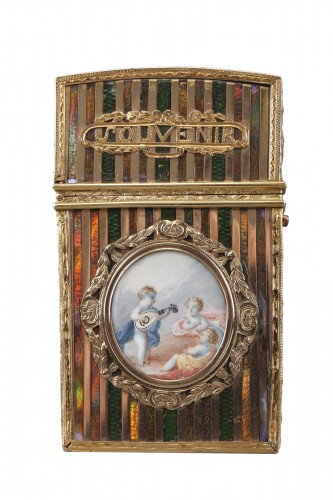 Gold panel and venis Martin writing case. Louis XV period.