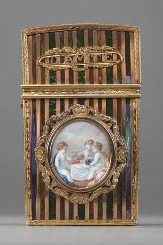Gold panel and venis Martin writing case. Louis XV period.  - Objects of Vertu Style Louis XV