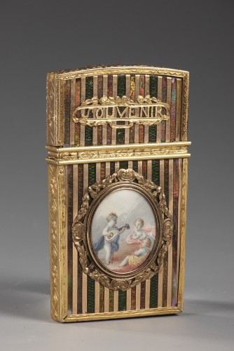 Objects of Vertu  - Gold panel and venis Martin writing case. Louis XV period.