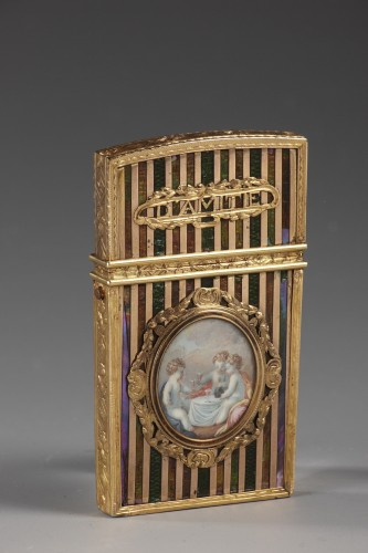 Gold panel and venis Martin writing case. Louis XV period.  -