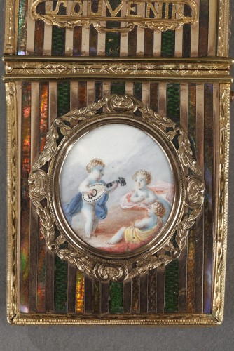 Gold panel and venis Martin writing case. Louis XV period.  - Louis XV