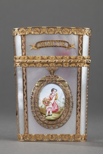 Tablet case in gold with enamel, mother-of-pearl and ivory. 19th Century  - Objects of Vertu Style