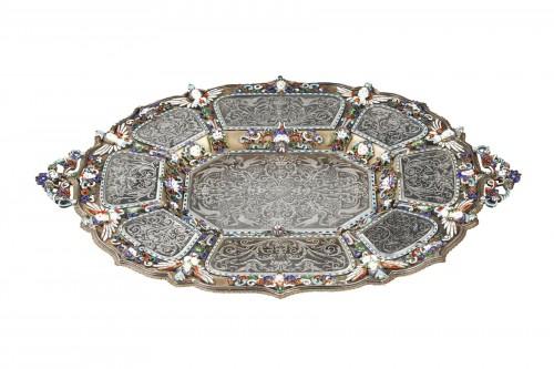 An Austrian Historicist Rock-Crystal, Silver-Gilt and enamel dish.