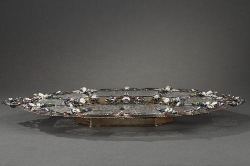 An Austrian Historicist Rock-Crystal, Silver-Gilt and enamel dish. - Antique Silver Style Napoléon III