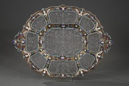 Antique Silver  - An Austrian Historicist Rock-Crystal, Silver-Gilt and enamel dish.