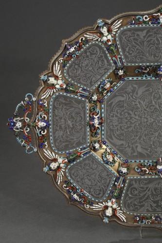 An Austrian Historicist Rock-Crystal, Silver-Gilt and enamel dish. -