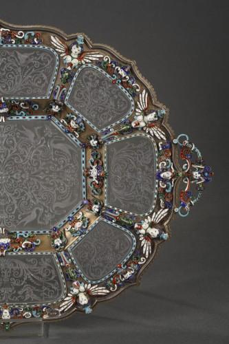 19th century - An Austrian Historicist Rock-Crystal, Silver-Gilt and enamel dish.