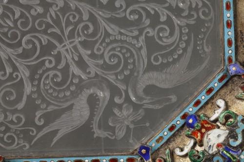 Napoléon III - An Austrian Historicist Rock-Crystal, Silver-Gilt and enamel dish.