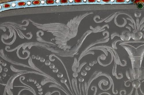 Antiquités - An Austrian Historicist Rock-Crystal, Silver-Gilt and enamel dish.