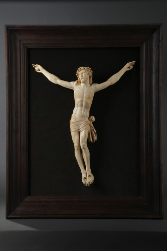 Religious Antiques  - A 18th century carved ivory figure of the crucified christ