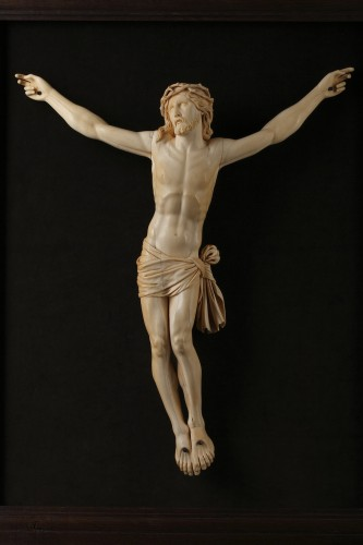 A 18th century carved ivory figure of the crucified christ  -