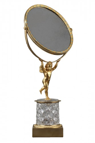 Charles X crystal and gilt bronze mirror with musical system