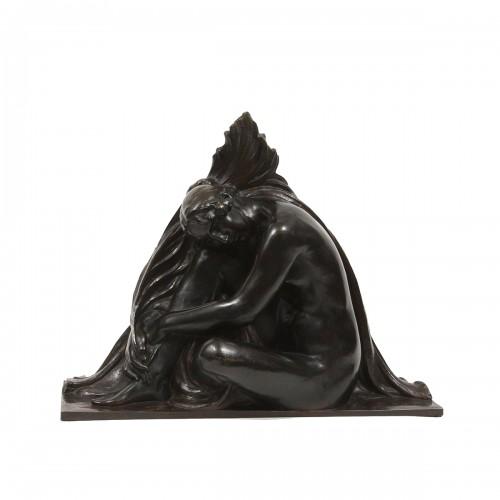 """Bronze figure by Richard GUINO (1890-1973)   """"Jeune fille à la palme"""""""