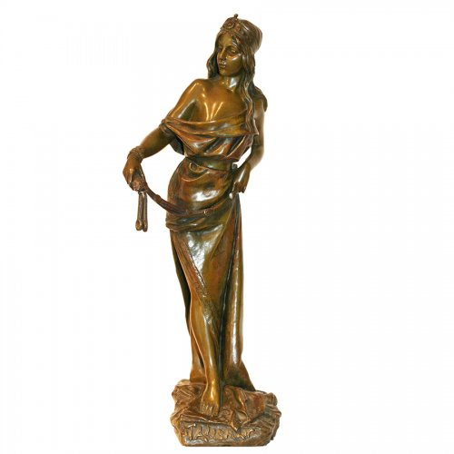 """Talisman"" Bronze figure by Emmanuel VILLANIS (1858-1904)"