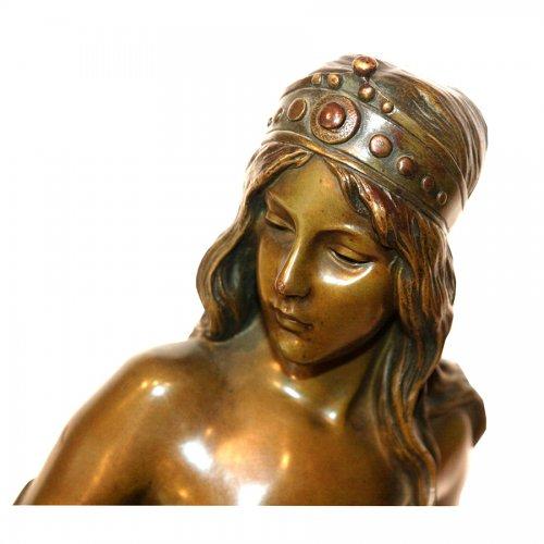 """""""Talisman"""" Bronze figure by Emmanuel VILLANIS (1858-1904)  - Sculpture Style Art nouveau"""