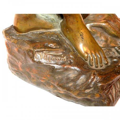 "Sculpture  - ""Talisman"" Bronze figure by Emmanuel VILLANIS (1858-1904)"