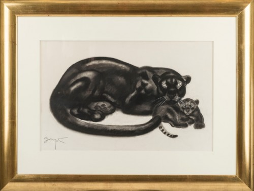 Black panther and her cub - Georges Lucien Guyot