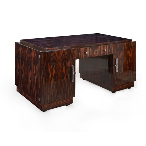 Art deco desk covered with Macassar ebony veneer